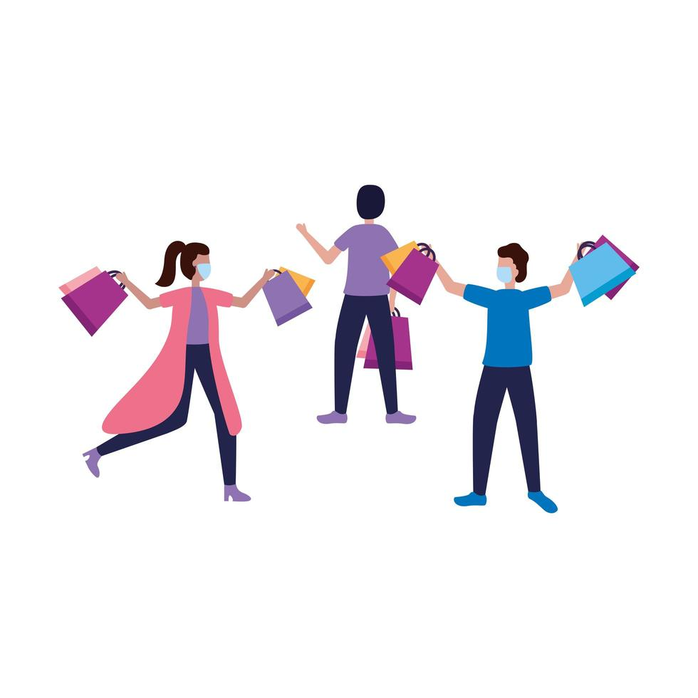 Avatar de hombres y mujeres con diseño de vector de bolsas de compras