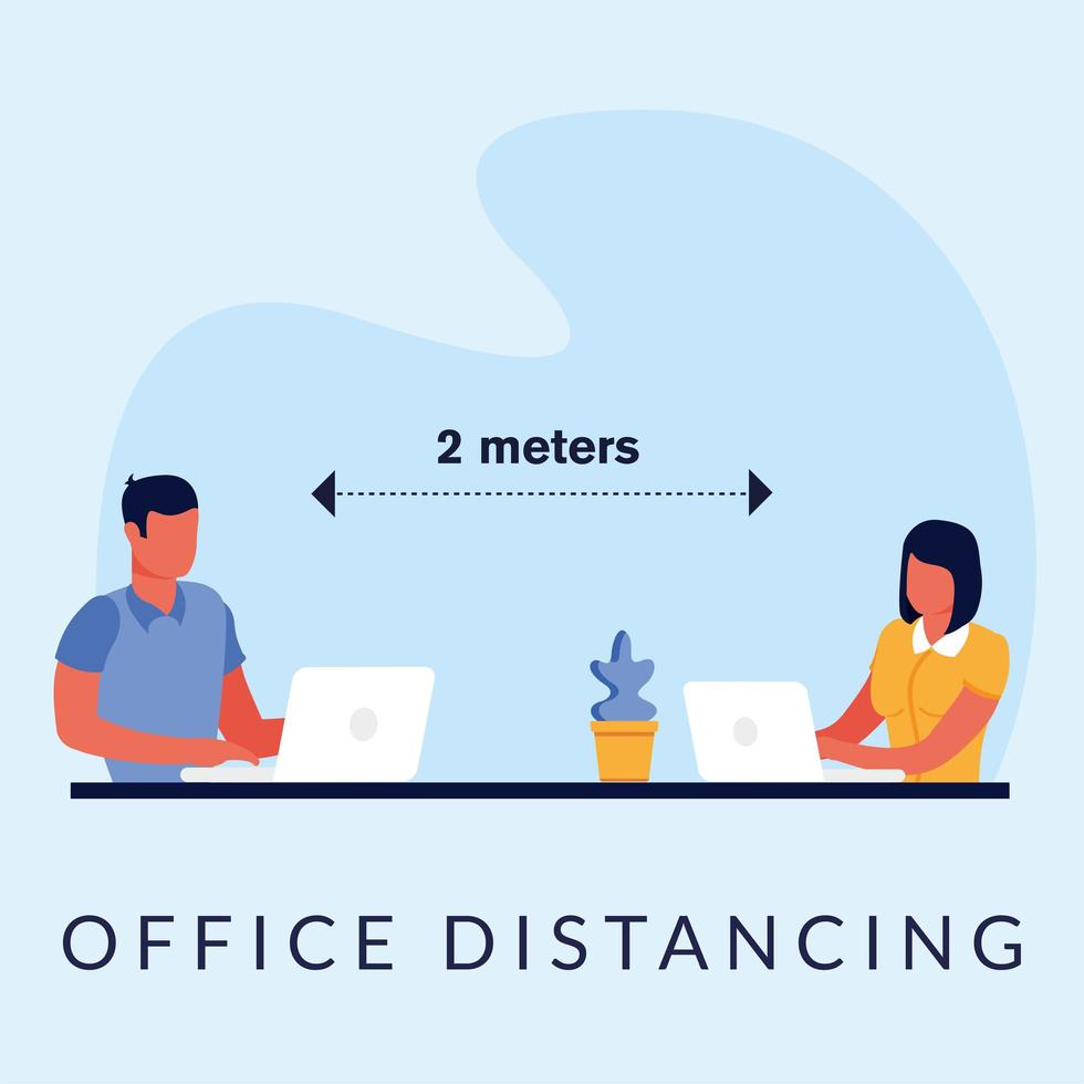 Office distancing between man and woman with laptops vector design