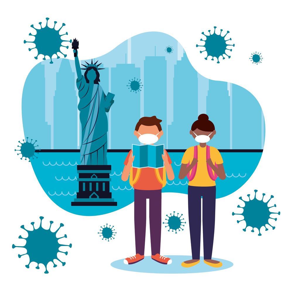 Mujer y hombre con máscara en el diseño de vectores de la ciudad de Nueva York