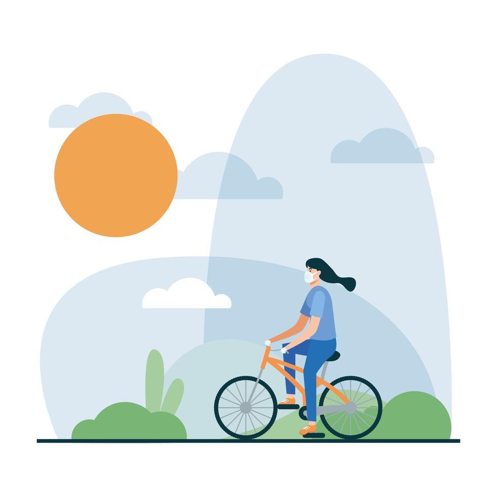 Mujer con máscara médica en diseño vectorial de bicicleta vector