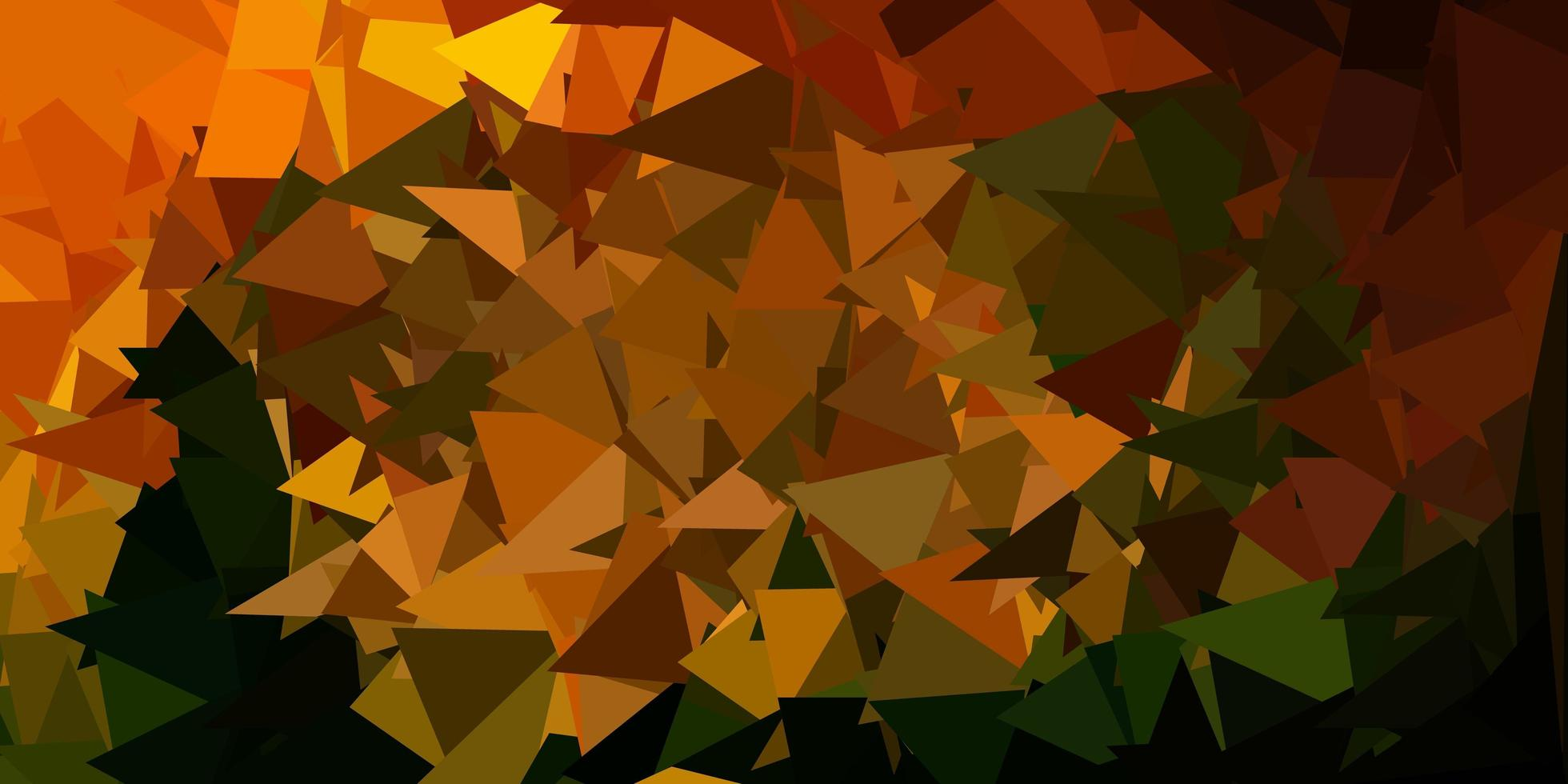 Dark green, yellow vector abstract triangle background.