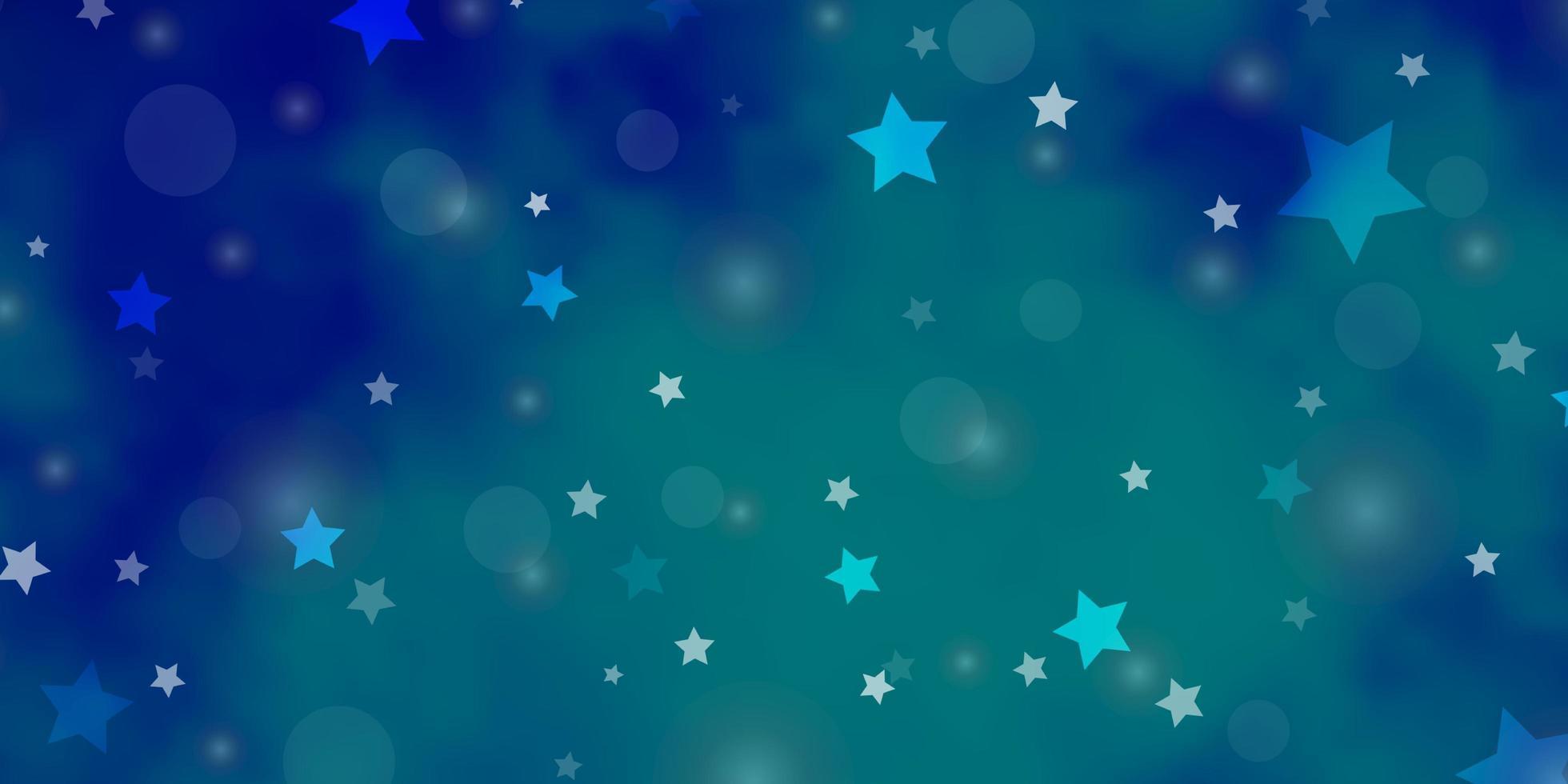 plantilla de vector azul claro con círculos, estrellas.