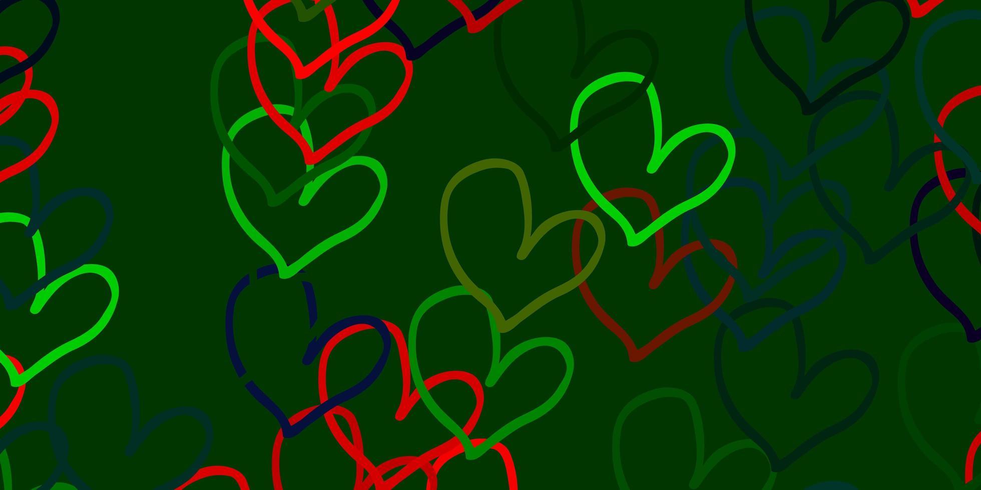 Plantilla de vector multicolor claro con corazones de doodle.