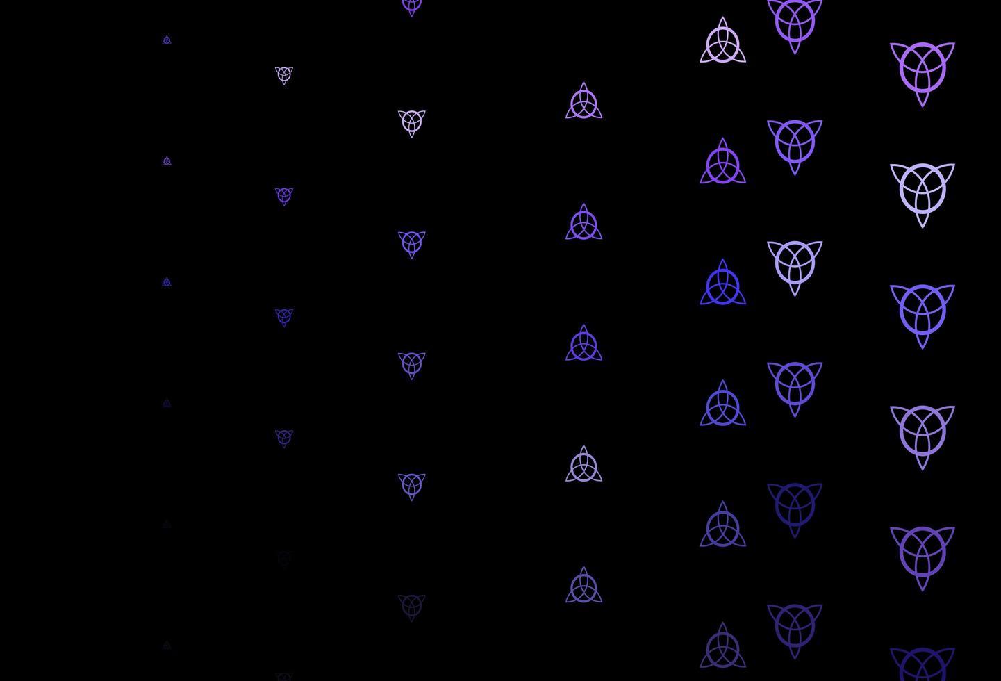 patrón de vector de color púrpura oscuro con elementos mágicos.