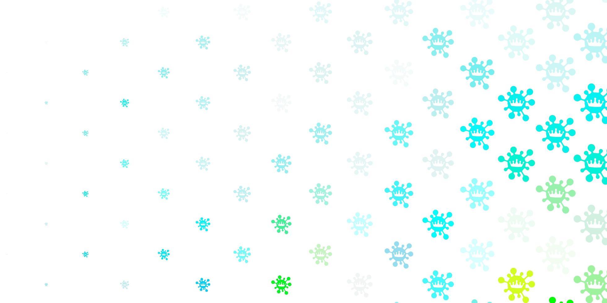 Light blue, green vector backdrop with virus symbols