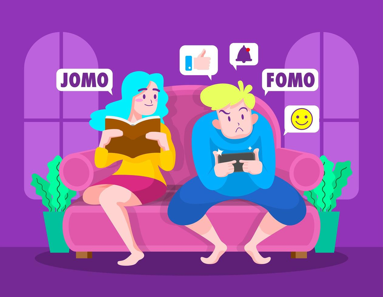 Fomo Vs Jomo Illustrations vector