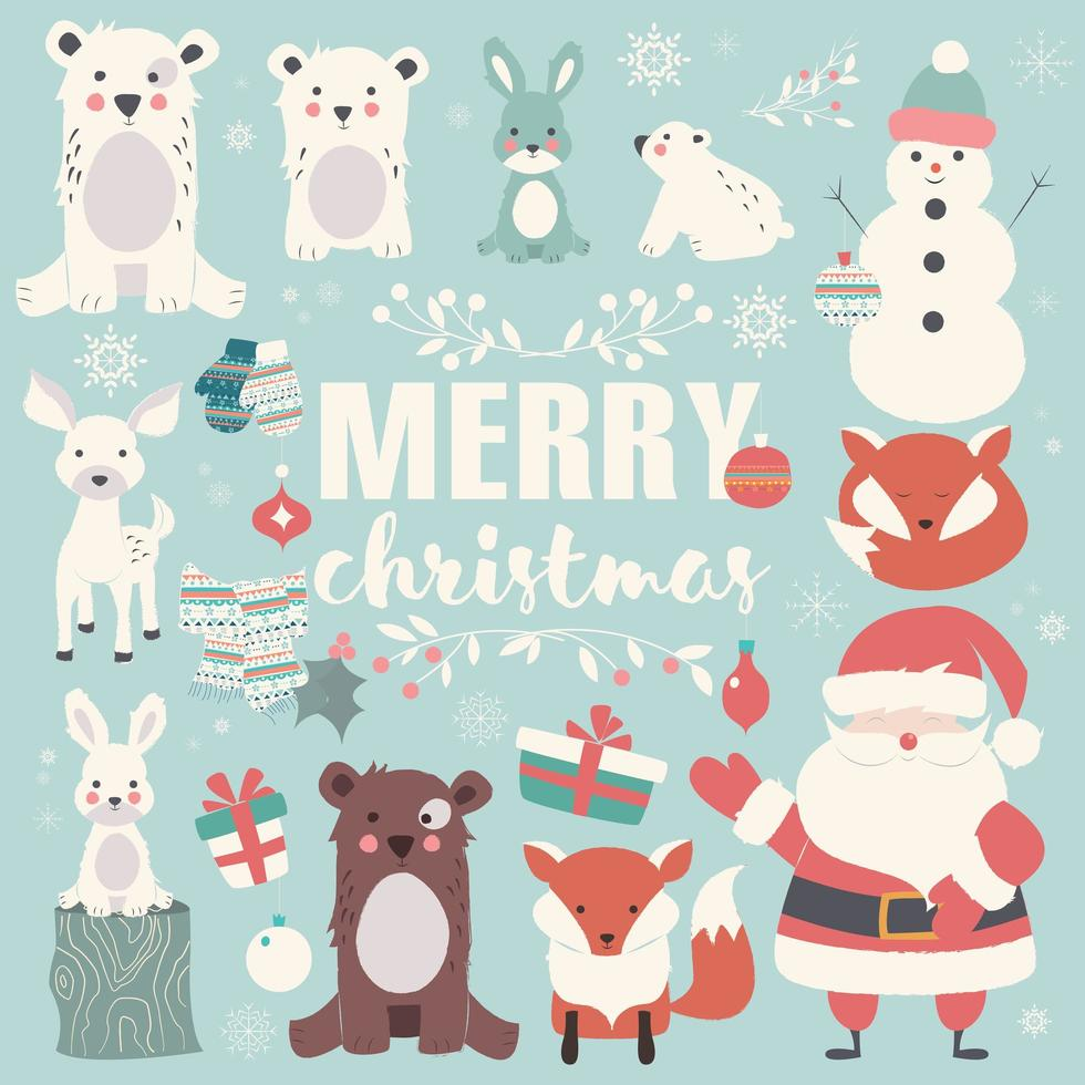 Collection of Christmas animals, lettering and Santa Claus, Merry Christmas vector