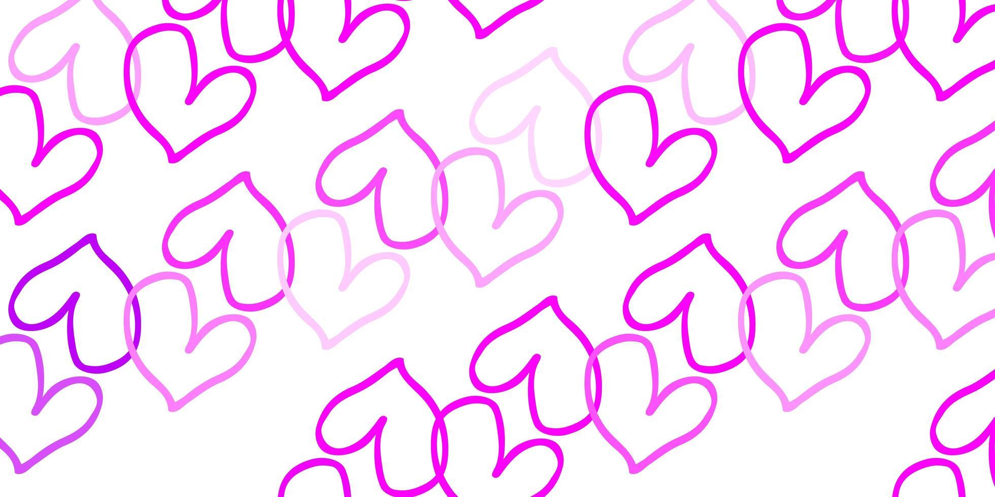 Fondo de vector rosa claro con corazones brillantes.