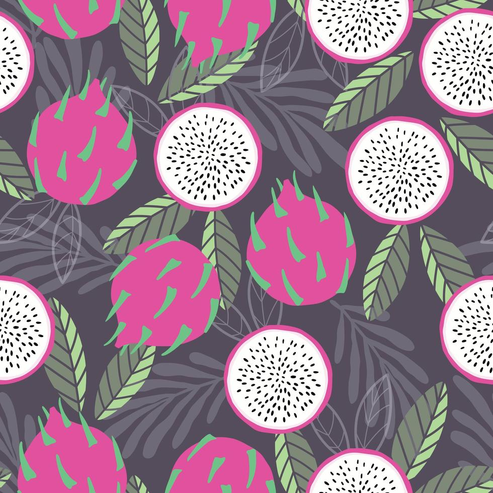 Fruit seamless pattern dragon fruit with tropical leaves vector