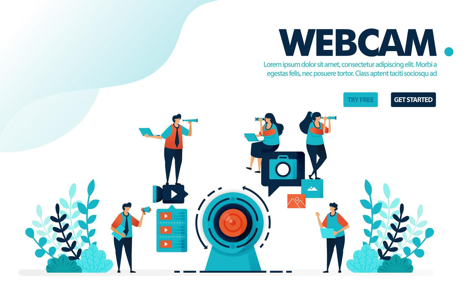 Vector illustration webcam camera. People record using a webcam for live streaming or webinars. Social media video content for vlog. Designed for landing page, web, banner, template, flyer, poster