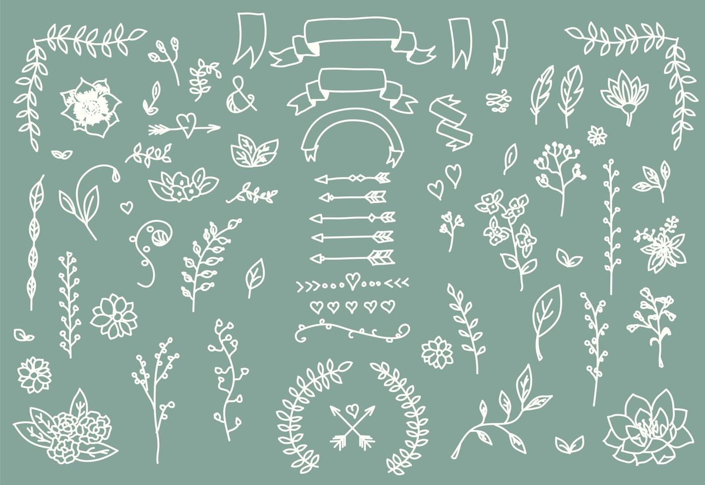 Hand drawn vintage arrows, feathers, dividers and floral elements vector