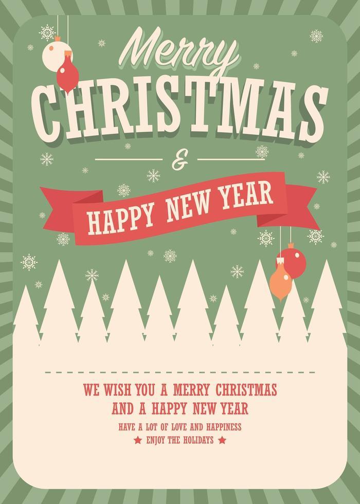 tarjeta de feliz navidad sobre fondo de invierno, diseño de carteles vector