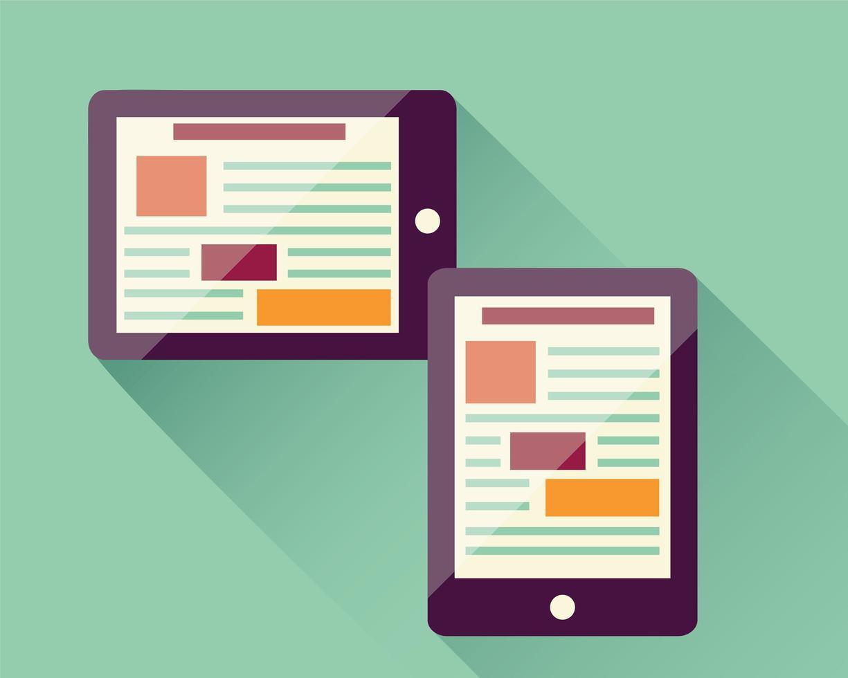 tableta de icono plano, dispositivo electrónico, diseño web receptivo, elementos infográficos vector