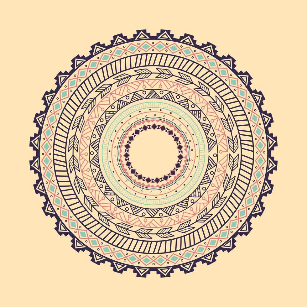 ornamento étnico del círculo azteca vector