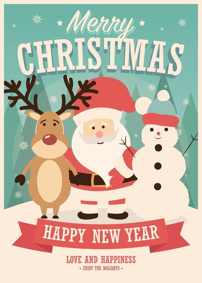 Tarjeta de feliz navidad con santa claus, renos y muñeco de nieve sobre fondo de invierno vector