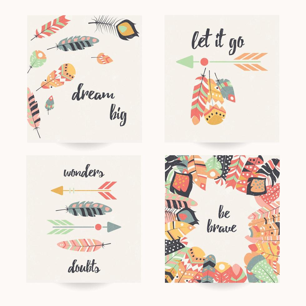Postcard set with inspirational quote and bohemian colorful feathers vector