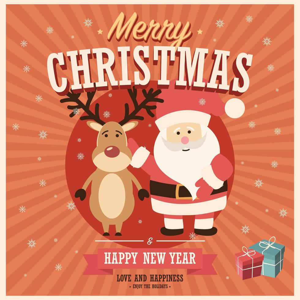 Merry Christmas card with Santa Claus and reindeer with gift boxes vector