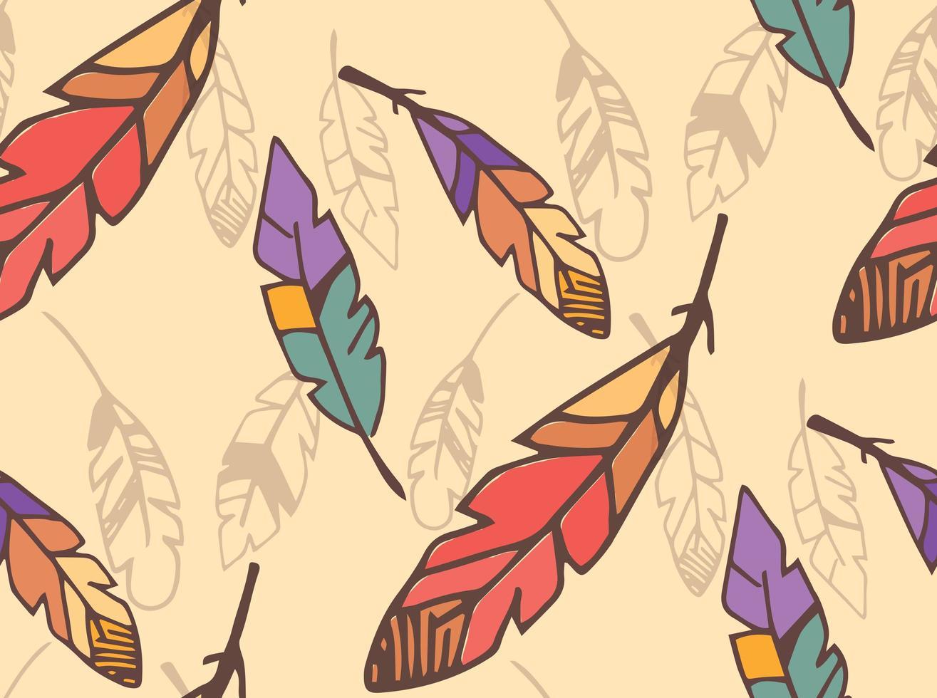 Bohemian colorful feathers, hand drawn, seamless pattern vector