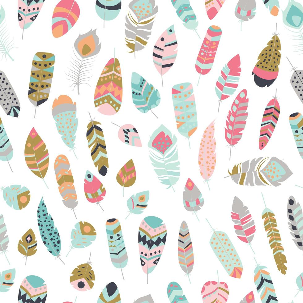 Seamless pattern with boho vintage tribal ethnic colorful vibrant feathers vector