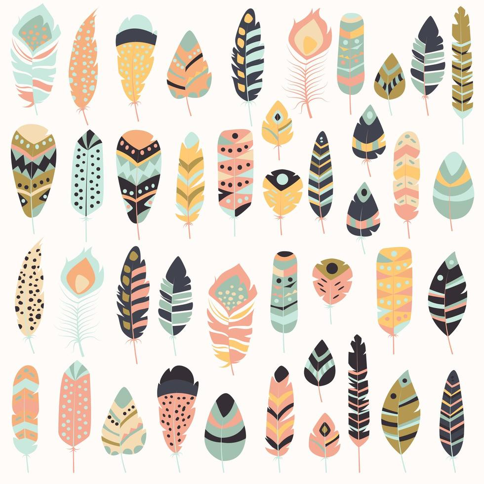 Collection of boho vintage tribal ethnic hand drawn colorful feathers vector