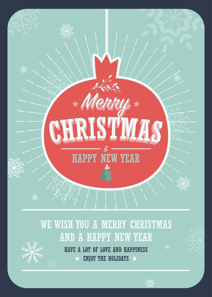 Feliz Navidad tarjeta en una bola de Navidad decorativa sobre fondo de invierno vector