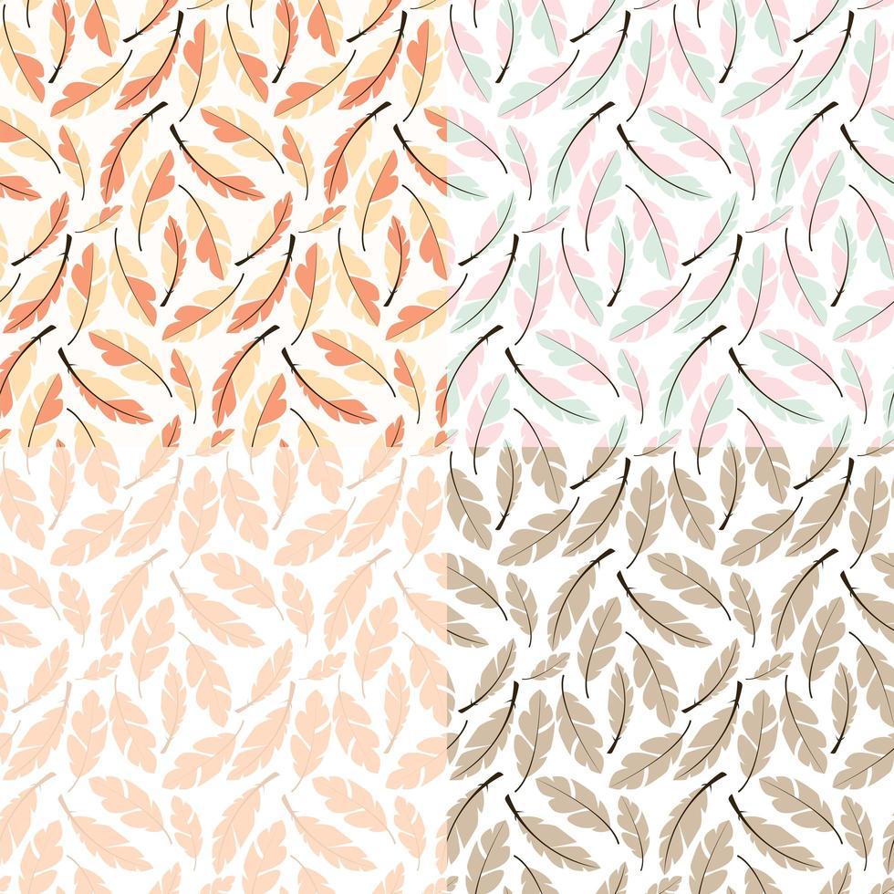 colección de cuatro diseños de patrones sin fisuras con plumas bohemias dibujadas a mano vector
