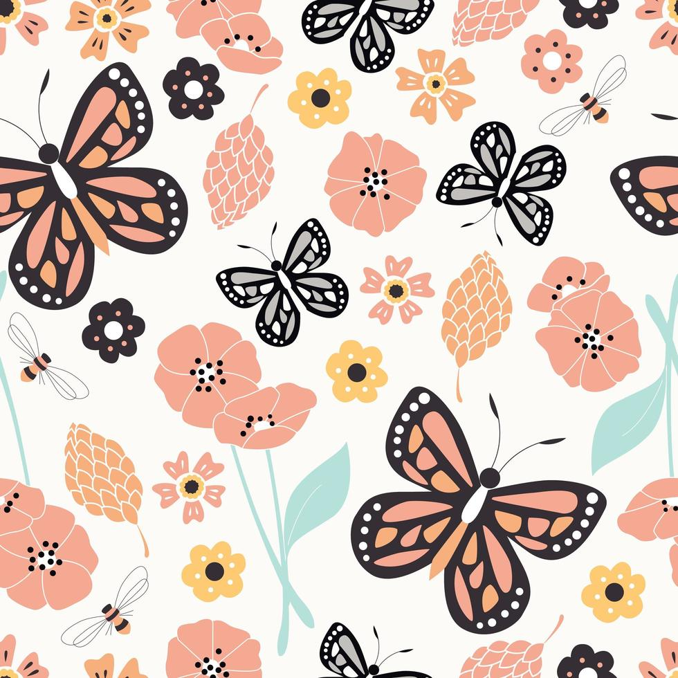 Seamless pattern with flowers, floral elements and butterflies, nature life vector