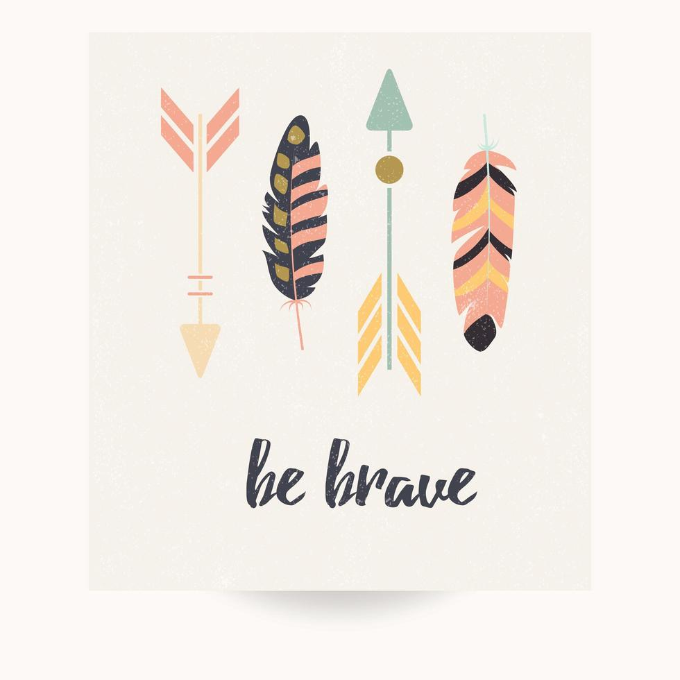 Postcard design with inspirational quote and bohemian colorful feathers vector