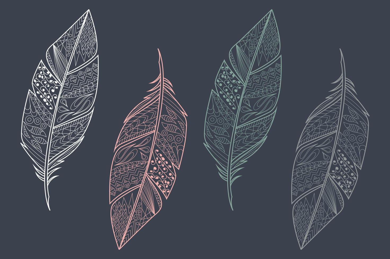 Collection of vintage tribal ethnic hand drawn colorful feathers vector