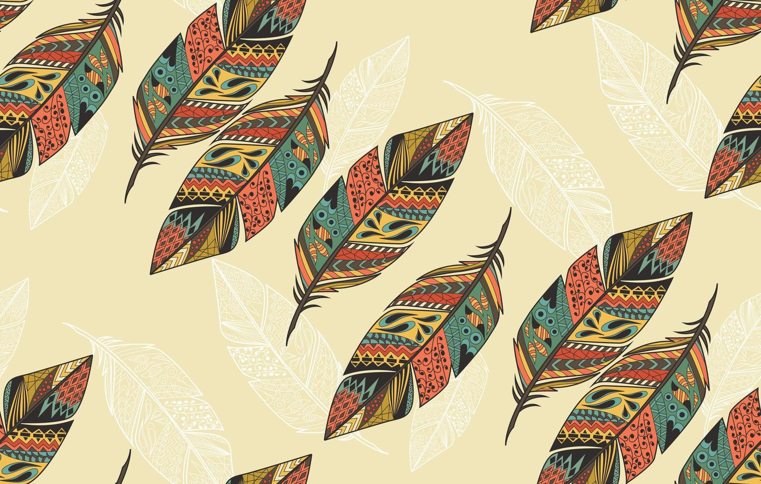 Seamless pattern with vintage tribal ethnic hand drawn colorful feathers vector