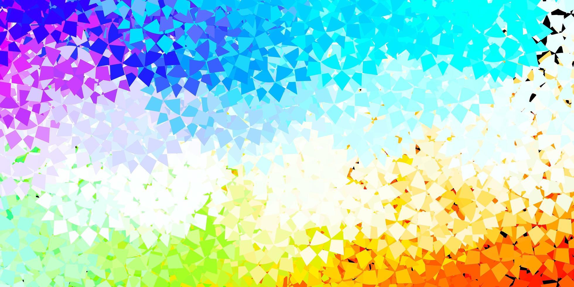 Fondo de vector multicolor claro con formas poligonales.