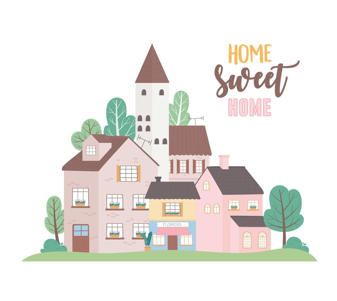 home sweet home, houses residential commercial urban architecture neighborhood street vector
