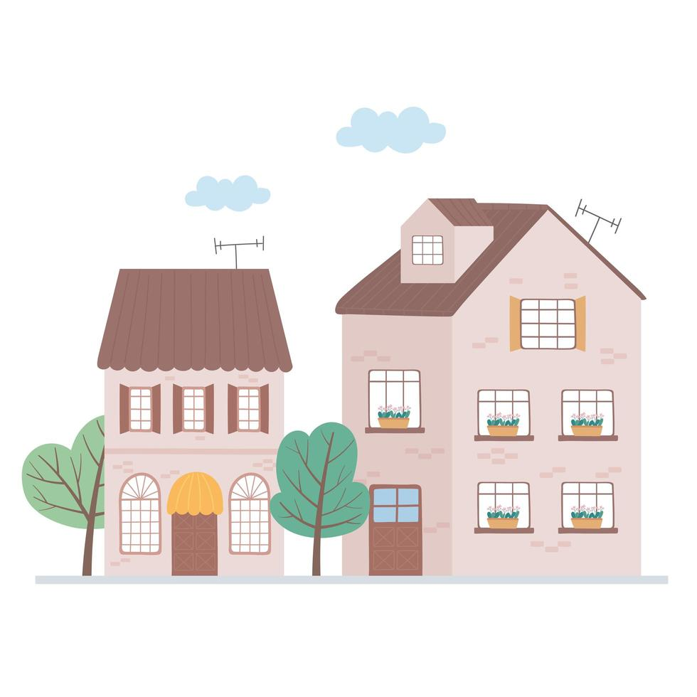residential houses neighborhood property roof antenna trees vector