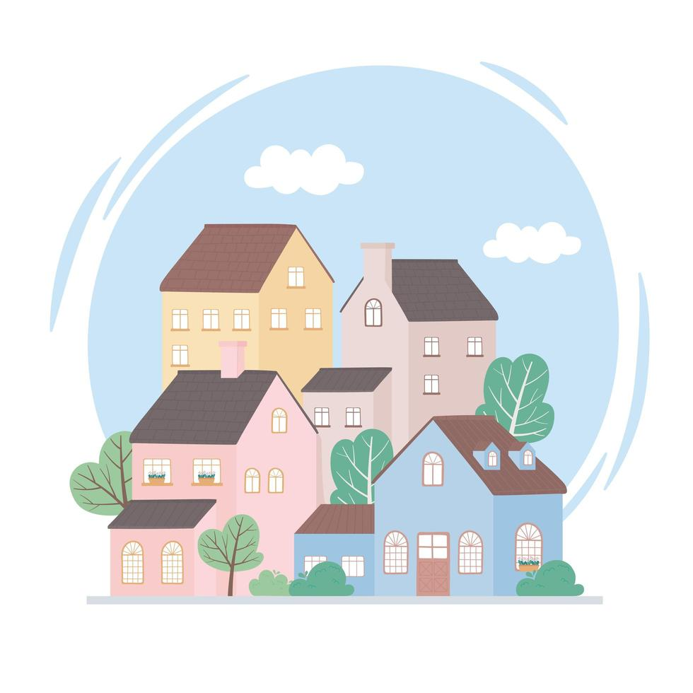 residential houses neighborhood architecture property building trees design vector