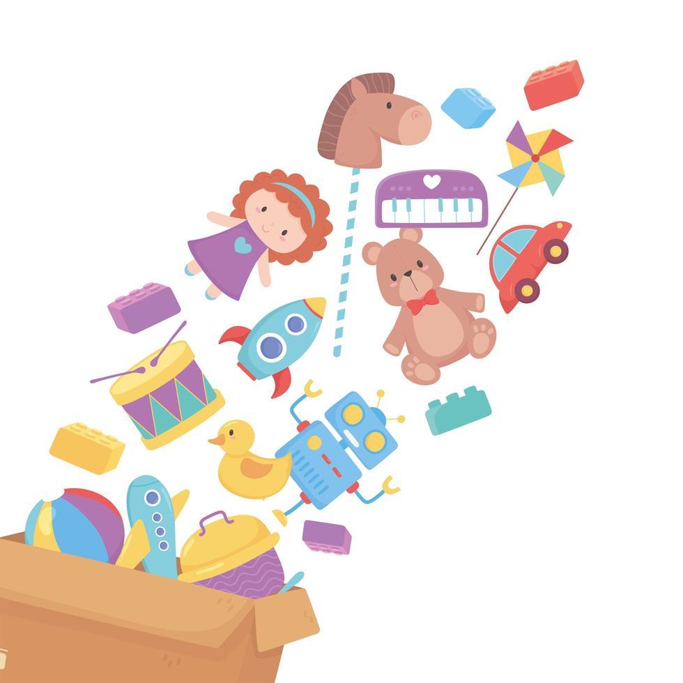 juguetes que caen en un objeto de caja de cartón para que los niños pequeños jueguen dibujos animados vector