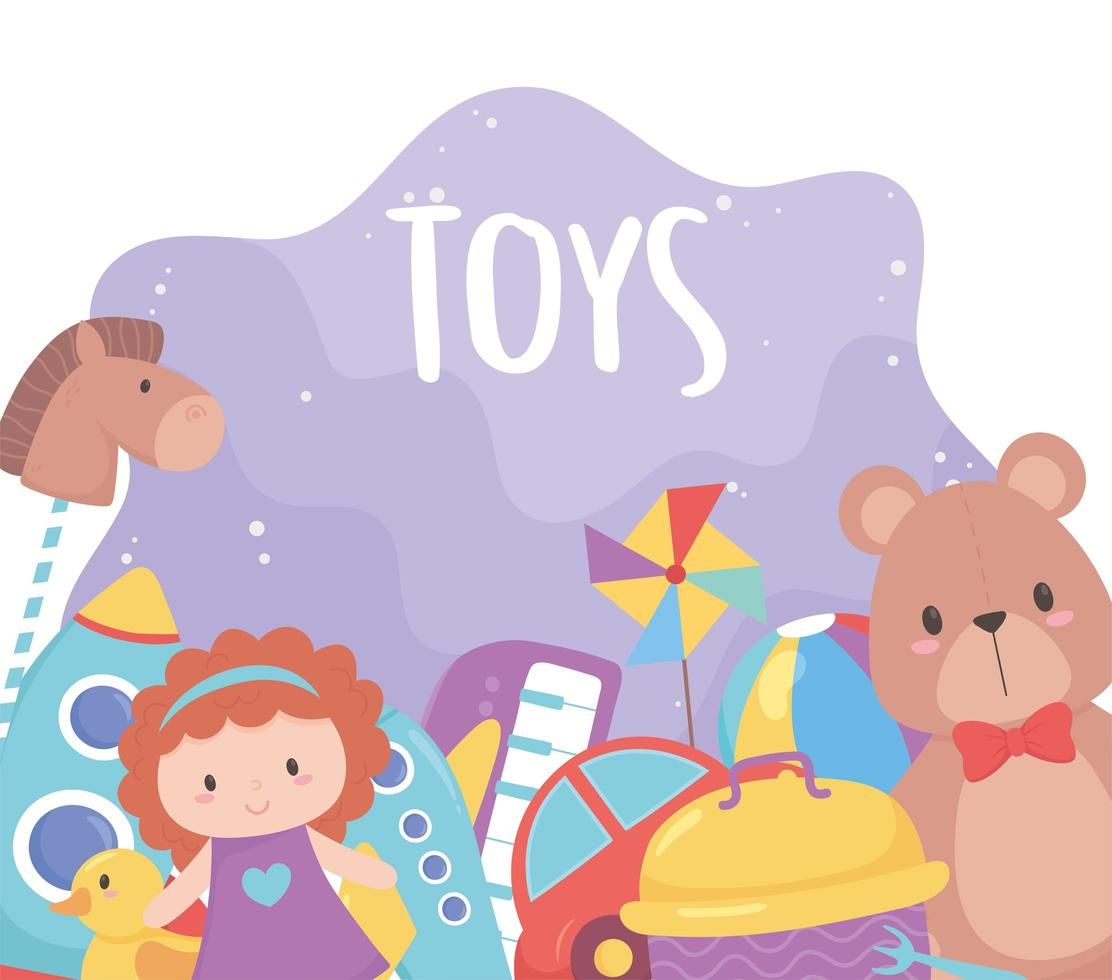 collection of kids toys with teddy bear doll car ball rocket vector