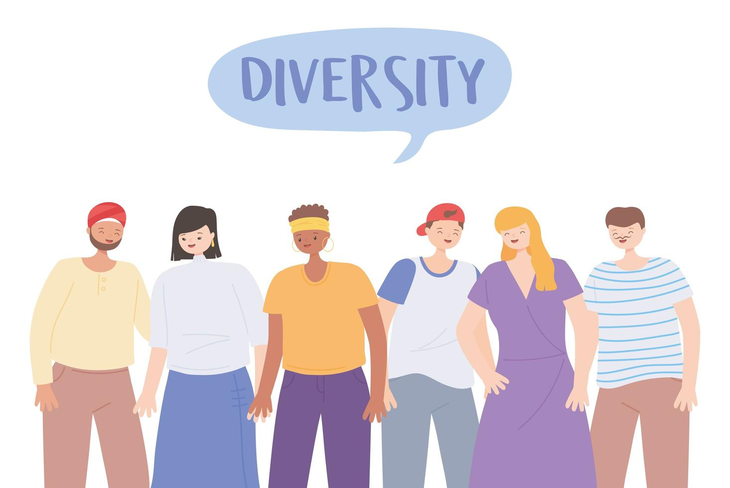 diverse multiracial and multicultural people characters different cartoon vector