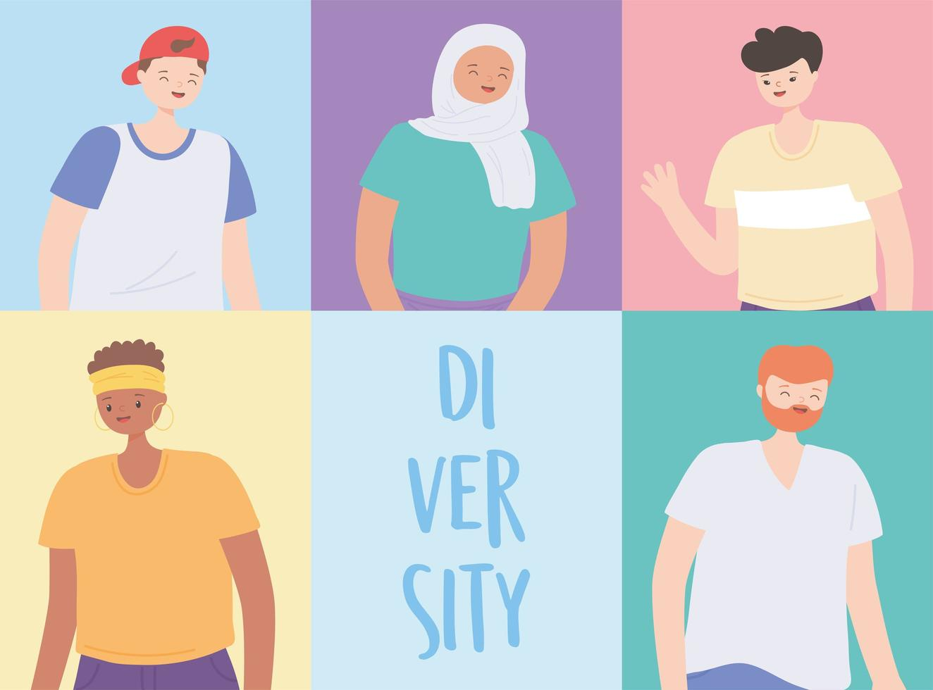 diverse multiracial and multicultural people, global people of different cultures vector