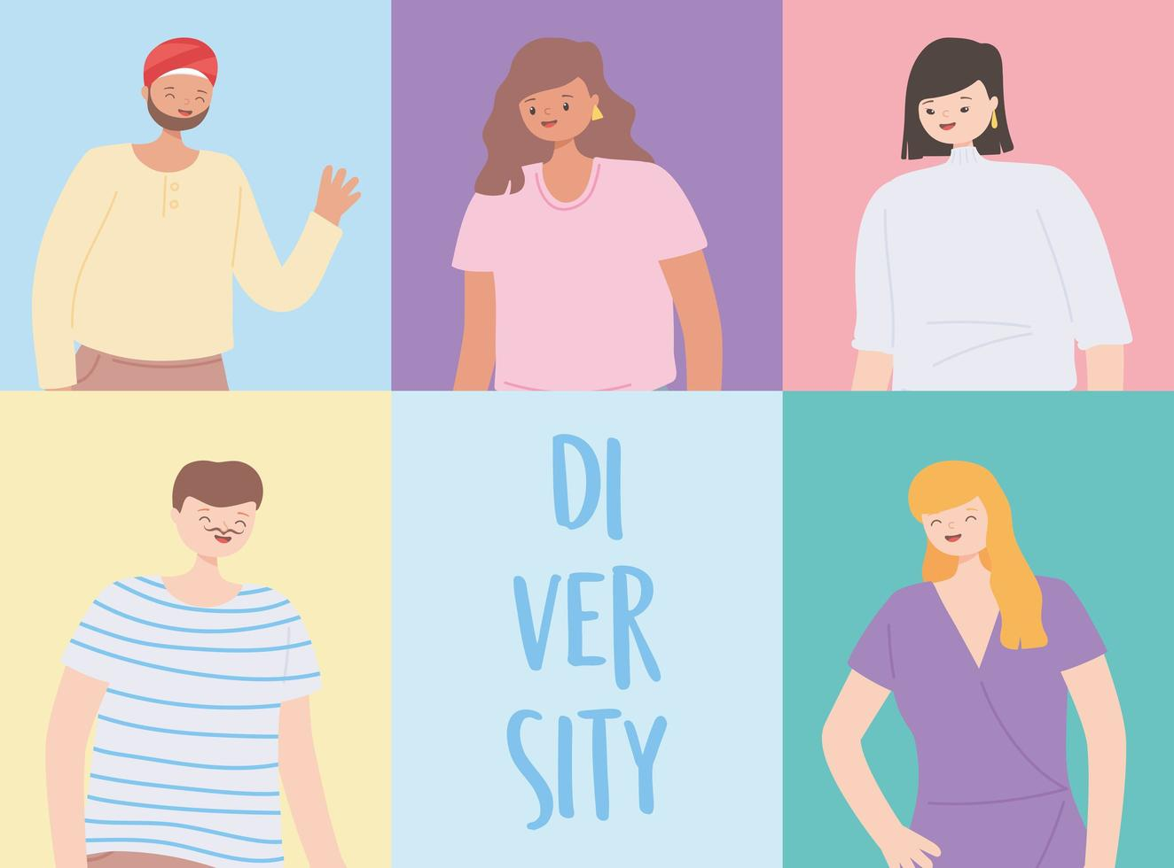 diverse multiracial and multicultural, people of different nationalities vector