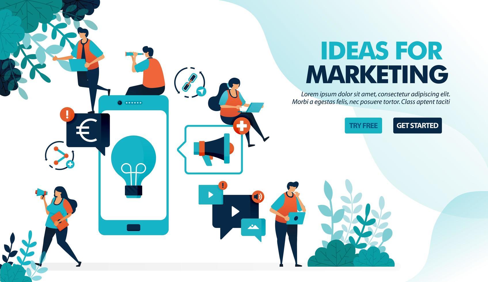ideas de negocio mediante la promoción de productos a través de dispositivos móviles. publicidad y marketing con smartphone para lucrar. ilustración vectorial plana para página de destino, web, sitio web, banner, aplicaciones móviles, folleto, cartel, interfaz de usuario vector