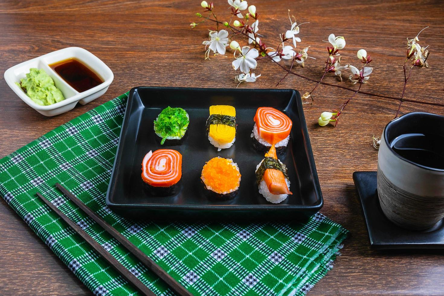 Sushi on a plate photo