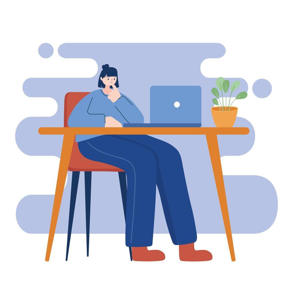mujer con laptop en diseño vectorial de escritorio vector