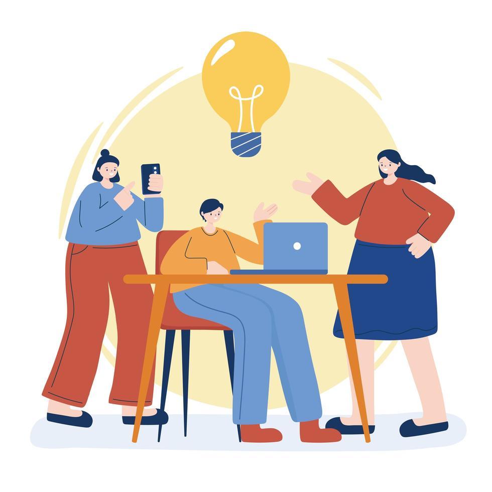 mujeres y hombres con laptop en diseño vectorial de escritorio vector
