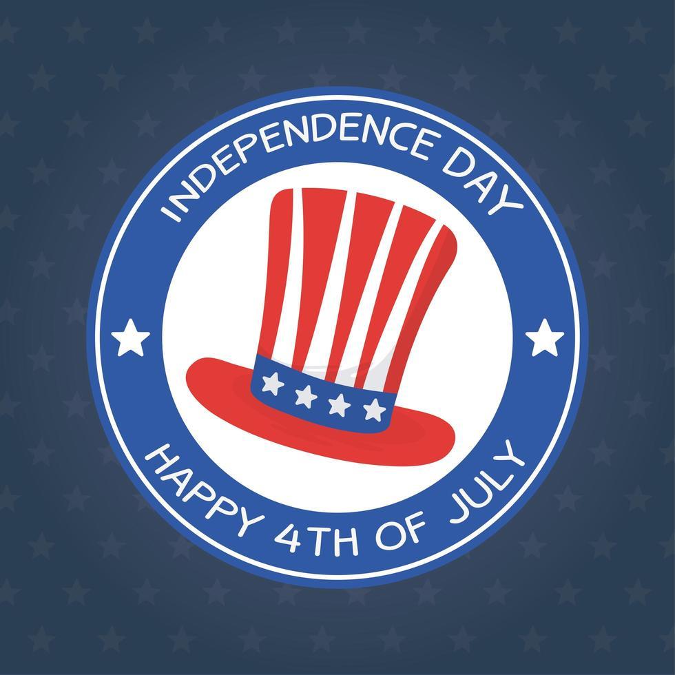 diseño del vector del sello del sello del sombrero del día de la independencia