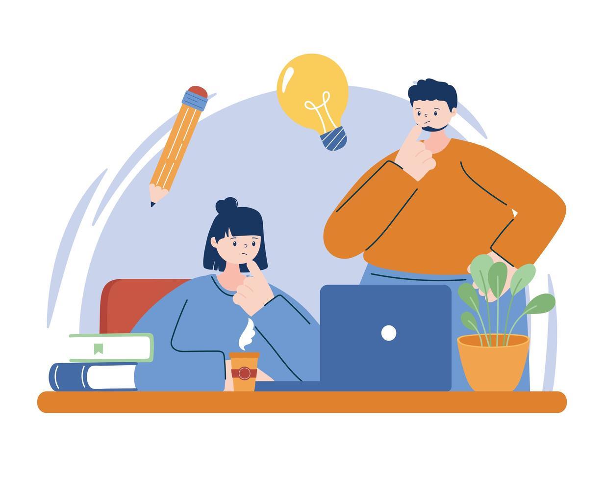 mujer y hombre, con, computadora portátil, en, escritorio, vector, diseño vector