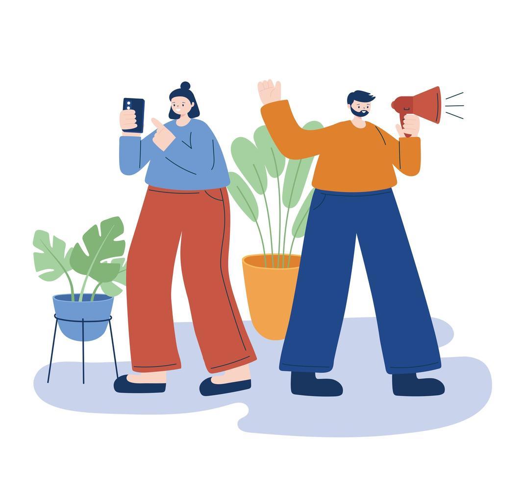Mujer y hombre con diseño de vector de teléfono inteligente y megáfono