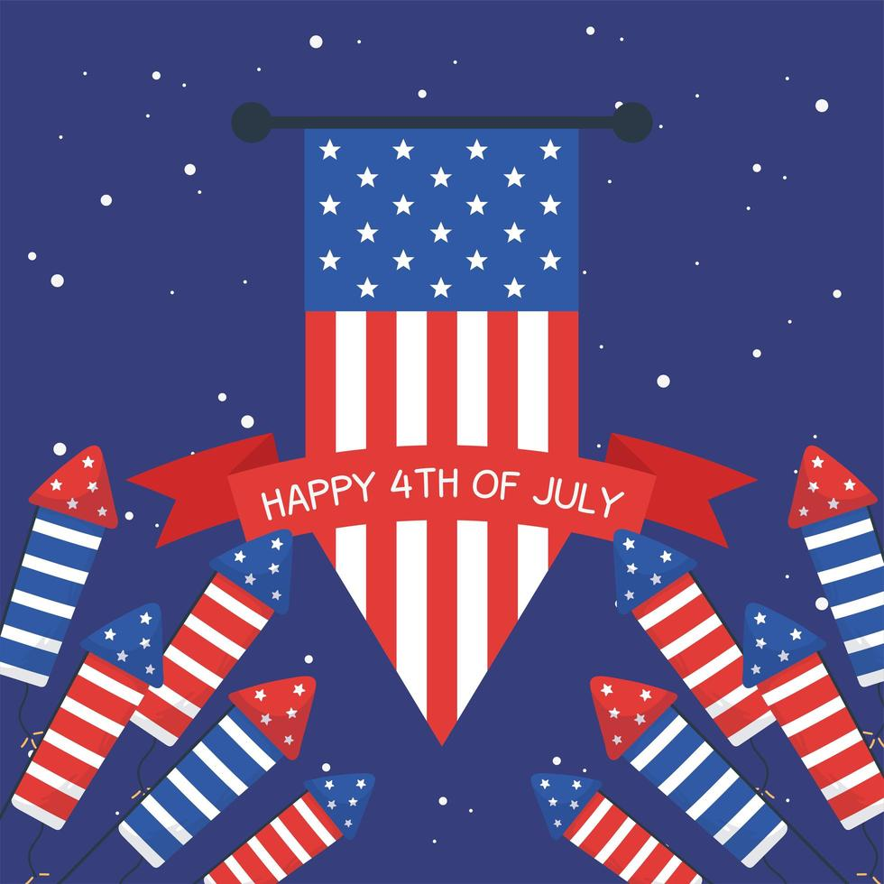 Fuegos artificiales del día de la independencia con bandera bandera y diseño vectorial de cinta vector