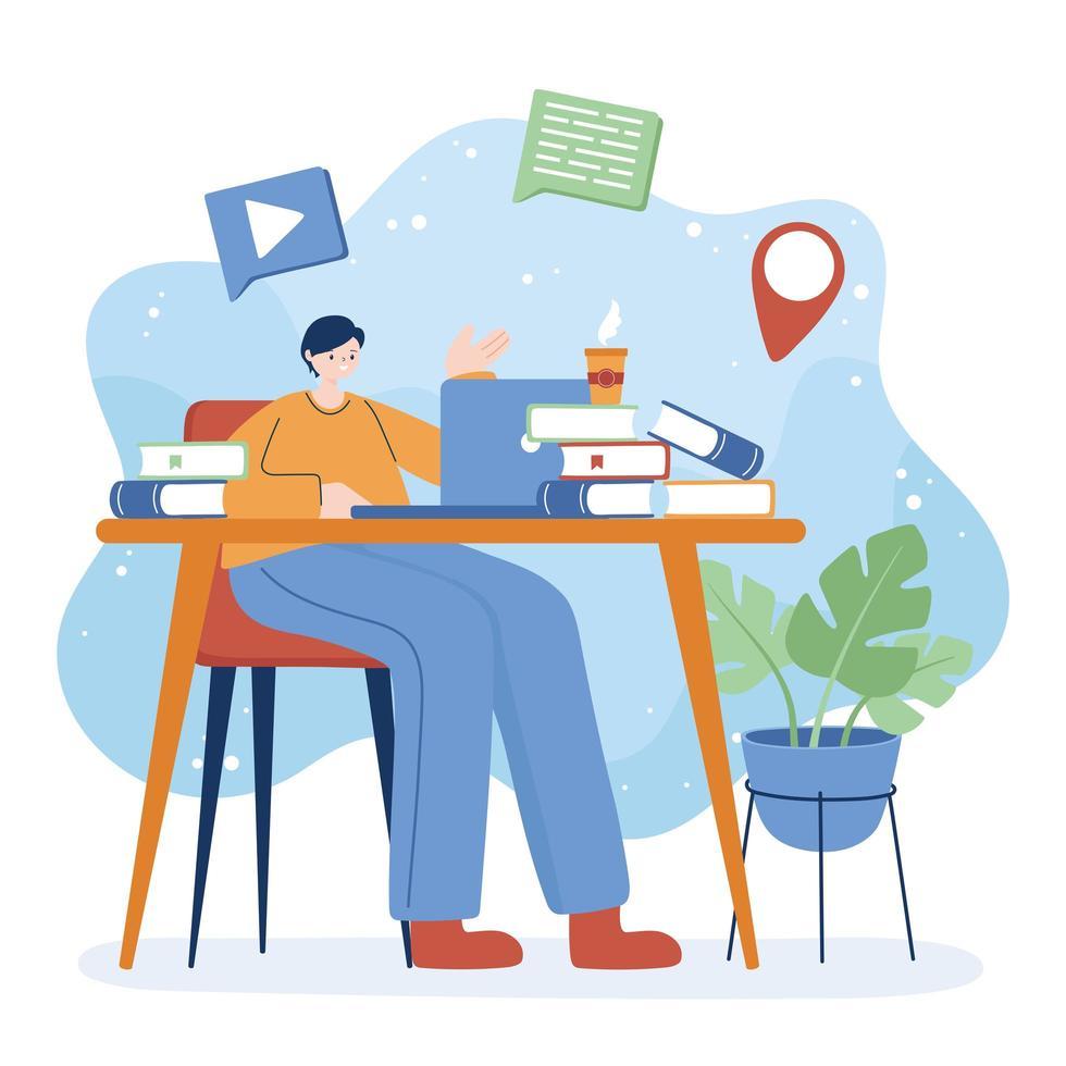 Hombre con laptop y libros en diseño vectorial de escritorio vector