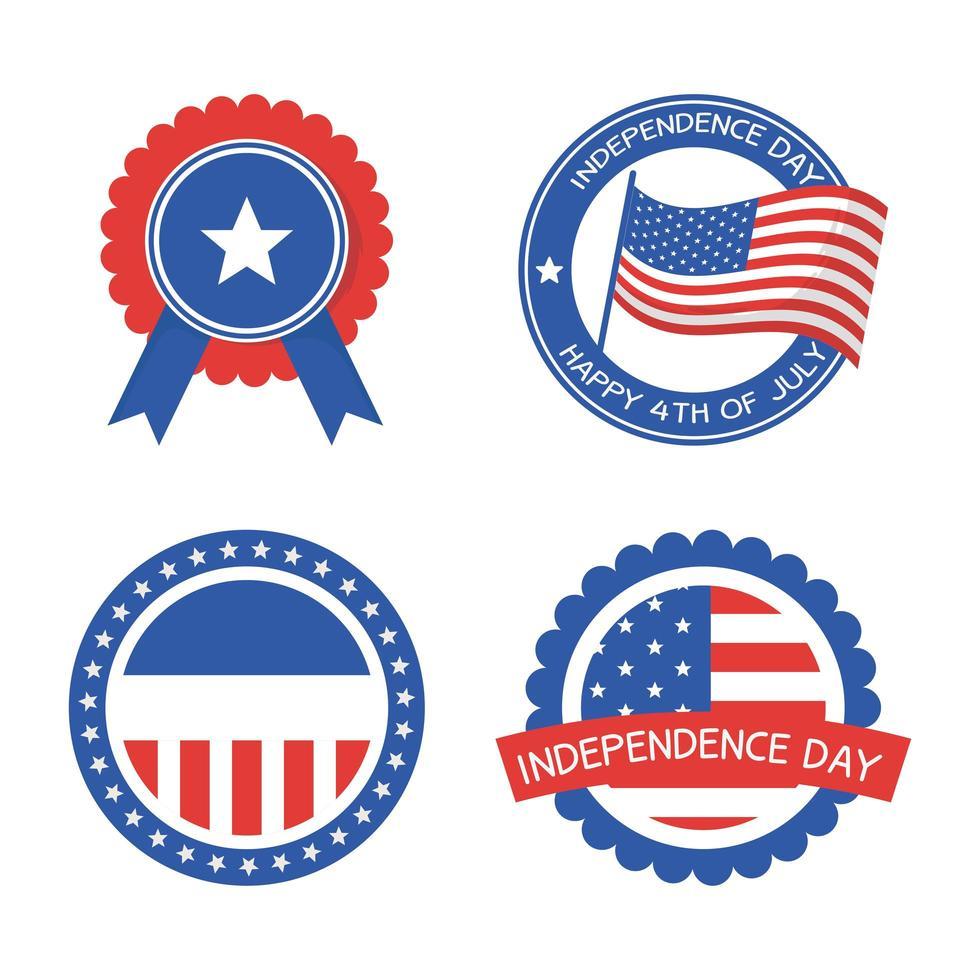 sellos de sello del día de la independencia set diseño vectorial vector