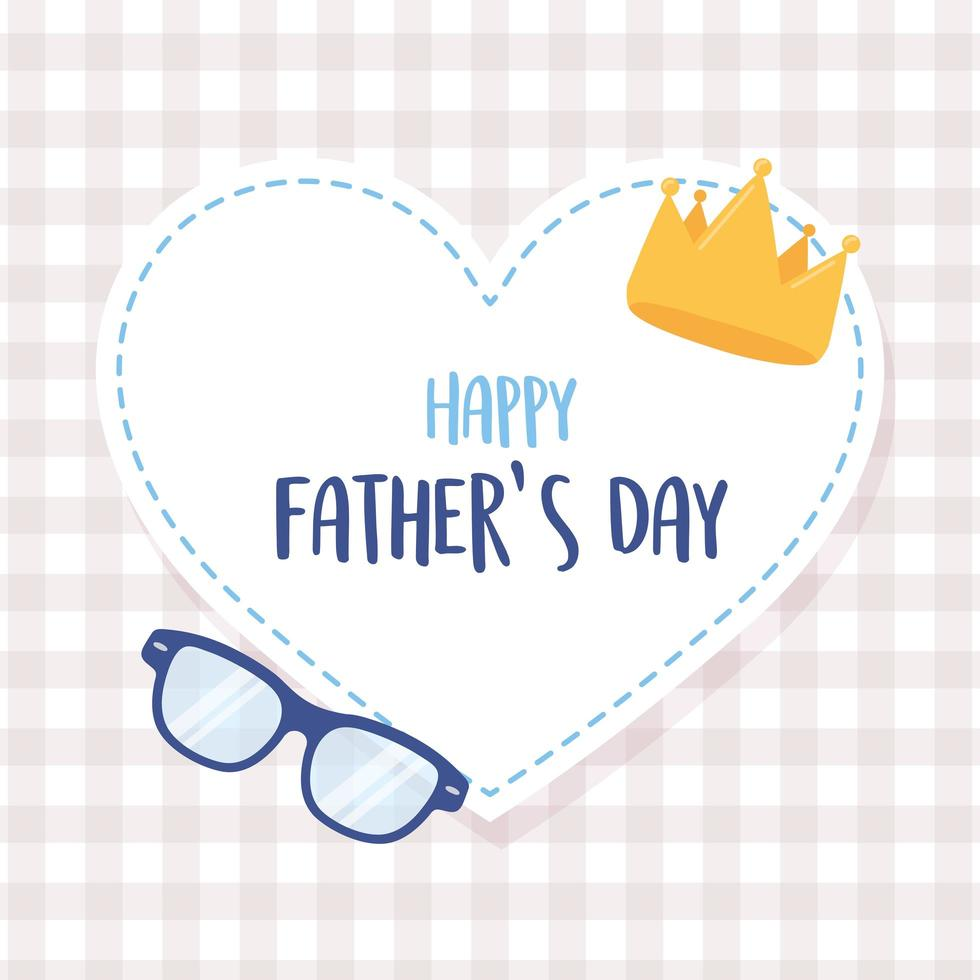 Happy Fathers Day Crown And Glasses In Heart Love Sticker 1827870 Vector Art At Vecteezy